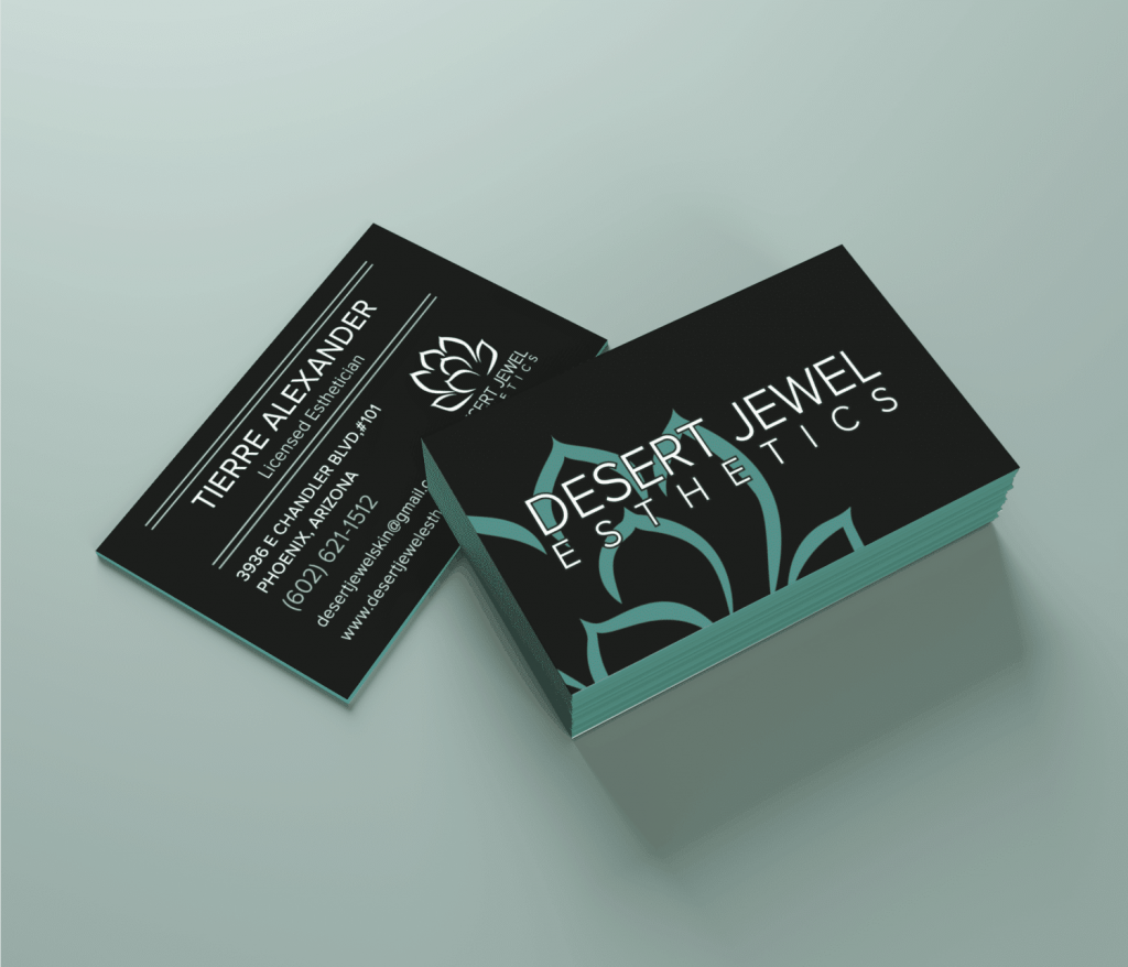 Business card mockup in black and green